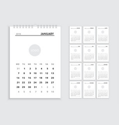 Wall calendar 2019 template vector