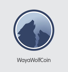 Wayawolfcoin crypto currency - colored logo vector