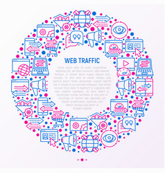 web traffic concept in circle with thin line icons vector image