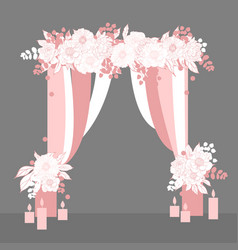 Wedding arch with flowers and candles vector
