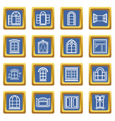 window design icons set blue square vector image