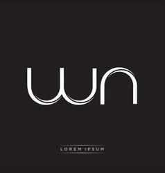 Wn initial letter split lowercase logo modern vector