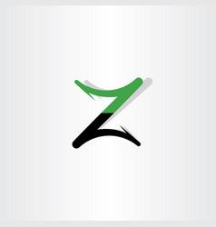z logo green black letter symbol vector image