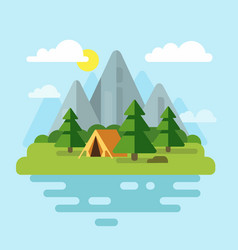camping with mountains and forest vector image vector image