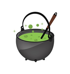 Magic kettle with spoon vector image