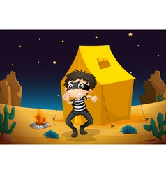 a tent house and a boy vector image vector image