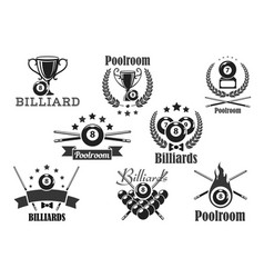 Billiards contest icons or emblems set vector