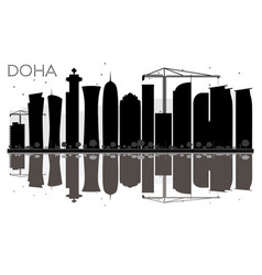 doha city skyline black and white silhouette with vector image