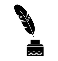 feather with writing ink - literature icon vector image