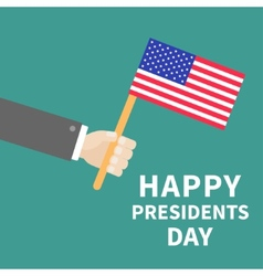 Hand with american flag Presidents Day background vector image
