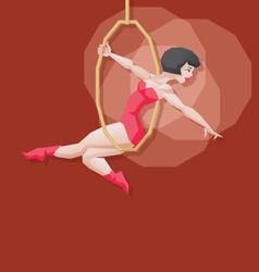 Pin-up cartoon girl circus aerial artist vector image vector image