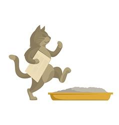 Cat goes in toilet vector image vector image
