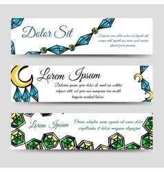 Diamonds and moon banners set vector image vector image