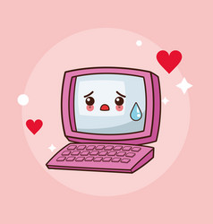 kawaii computer cry image vector image