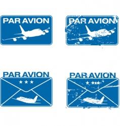 par avion rubber stamp vector image vector image