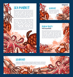seafood restaurant and fish market banner template vector image