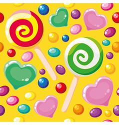 seamless pattern cute candies vector image vector image