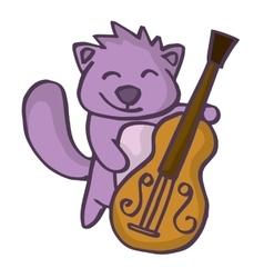 Beaver cartoon with guitar funny design vector image