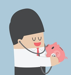 Businessman use stethoscope checking health of pig vector image