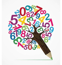 Number variety concept pencil tree vector image vector image