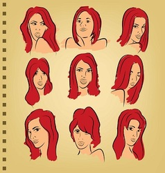 woman face on paper with color vector image vector image