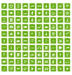 100 hi-tech icons set grunge green vector image