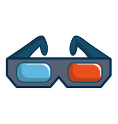 3d cinema glasses icon cartoon style vector