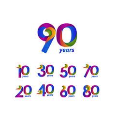 90 years anniversary celebration elegant blue vector