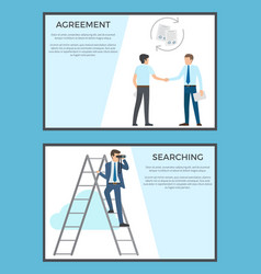 Agreement and searching collection of posters vector