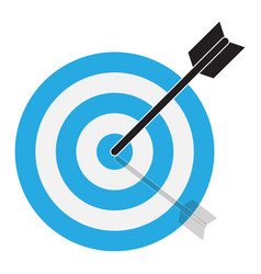arrow hits target target icon on white vector image