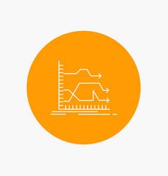 Arrows forward graph market prediction white line vector