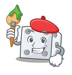 Artist dice character cartoon style vector