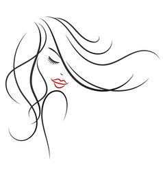Beautiful girl with curls of hair silhouette vector