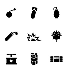 black bomb icon set vector image