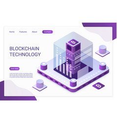 Blockchain technology landing page template vector