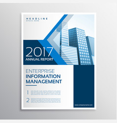 Blue annual report brochure flyer template design vector