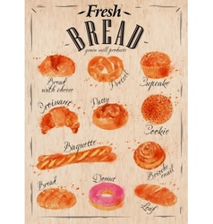 Bread products poster kraft vector