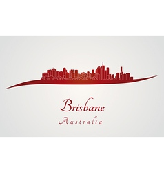Brisbane skyline in red vector