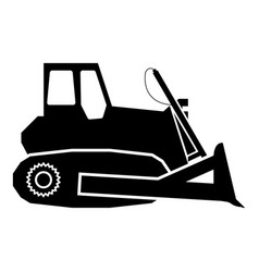 Bulldozer icon black color flat style simple image vector