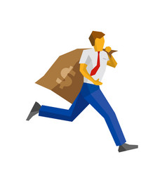Businessman running with big money bag vector