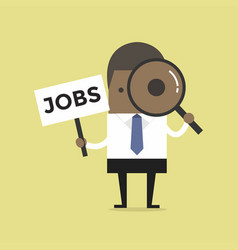 Businessman with magnifying glass and jobs sign vector