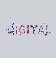 Businesspeople crowd gathering in shape digital vector