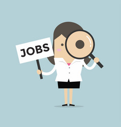 businesswoman looking magnify glass with jobs sign vector image