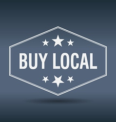 Buy local hexagonal white vintage retro style vector
