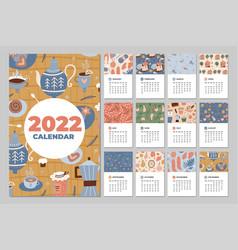 Calendar 2022 fun cozy and cute monthly vector