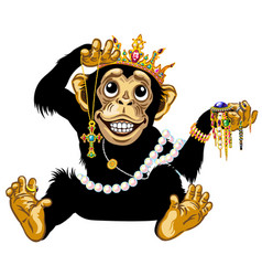 Cartoon chimpanzee playing with jewelry vector