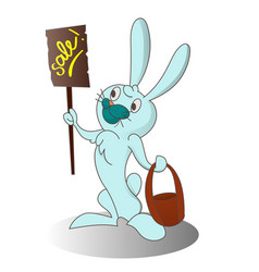 Cartoon easter rabbit with banner vector