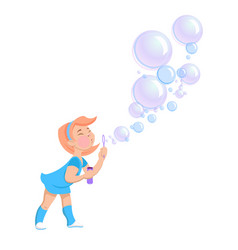 cartoon girl blowing soap bubbles vector image
