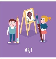 children drawing boy and girl studding in an art vector image