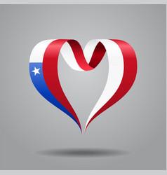chilean flag heart-shaped ribbon vector image